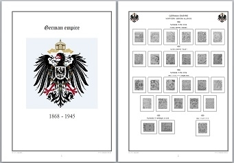 Stamp Album Pages German Empire on CD in WORD & PDF (English) for Self-Printing
