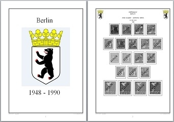 Stamp Album Pages Berlin 1948-1990 CD in WORD & PDF (English) for Self-Printing