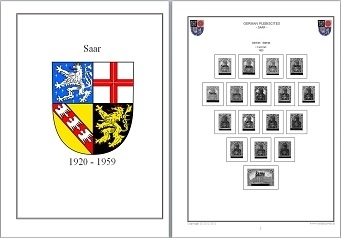 Stamp Album Pages Saar 1920-1959 CD in WORD PDF (English) for Self-Printing